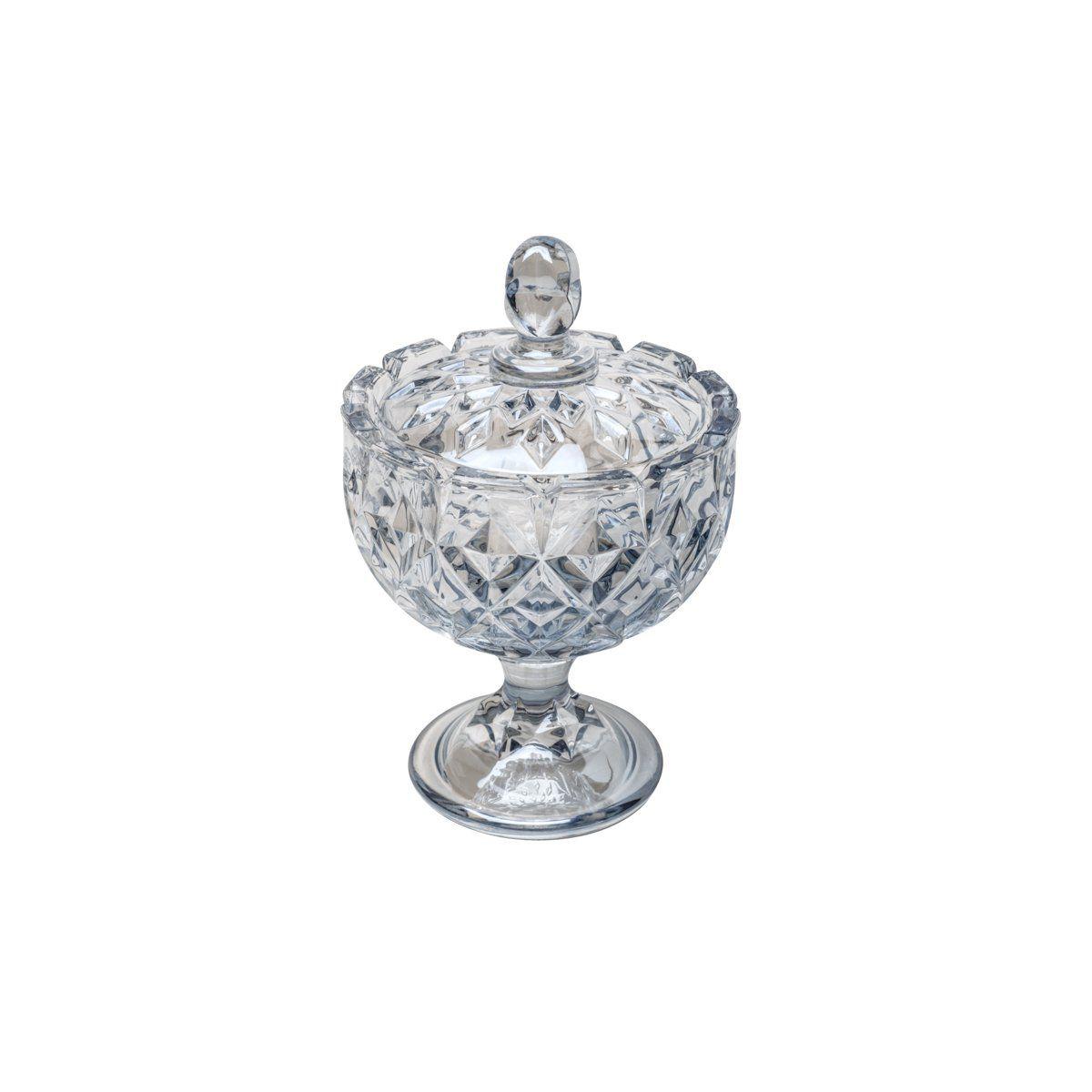 Bomboniere 14 cm de cristal azul com pé e tampa Crown Wolff - 26389
