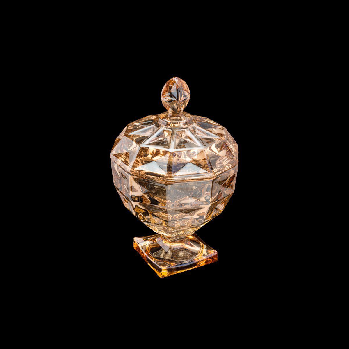 Bomboniere 18 cm de cristal âmbar com pé e tampa Diamant Wolff - 26061