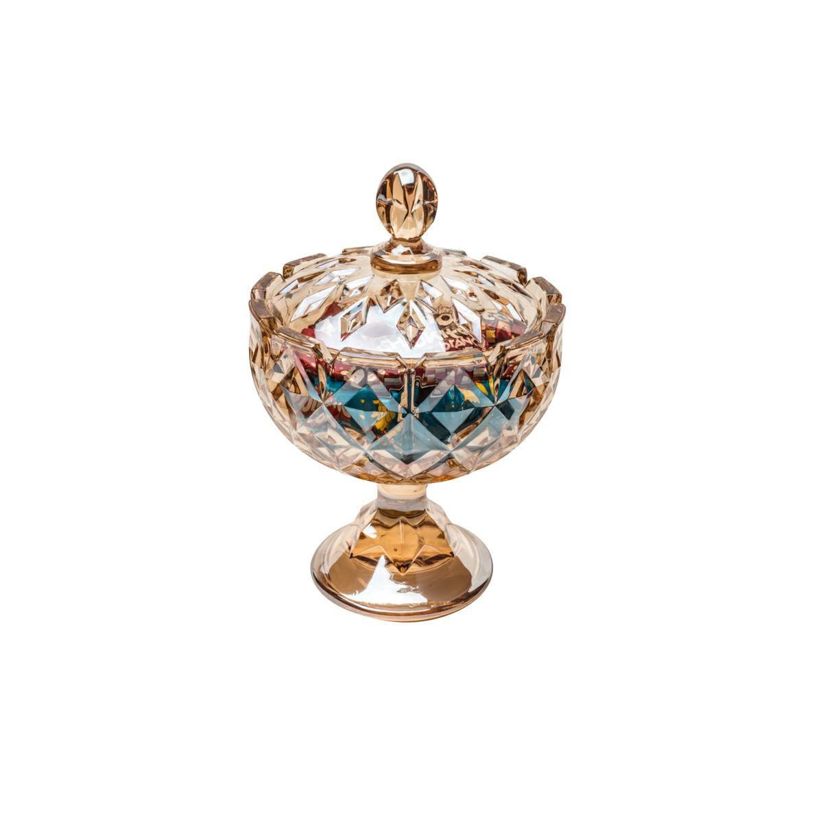 Bomboniere 24 cm de cristal âmbar com pé e tampa Crown Wolff - 26392