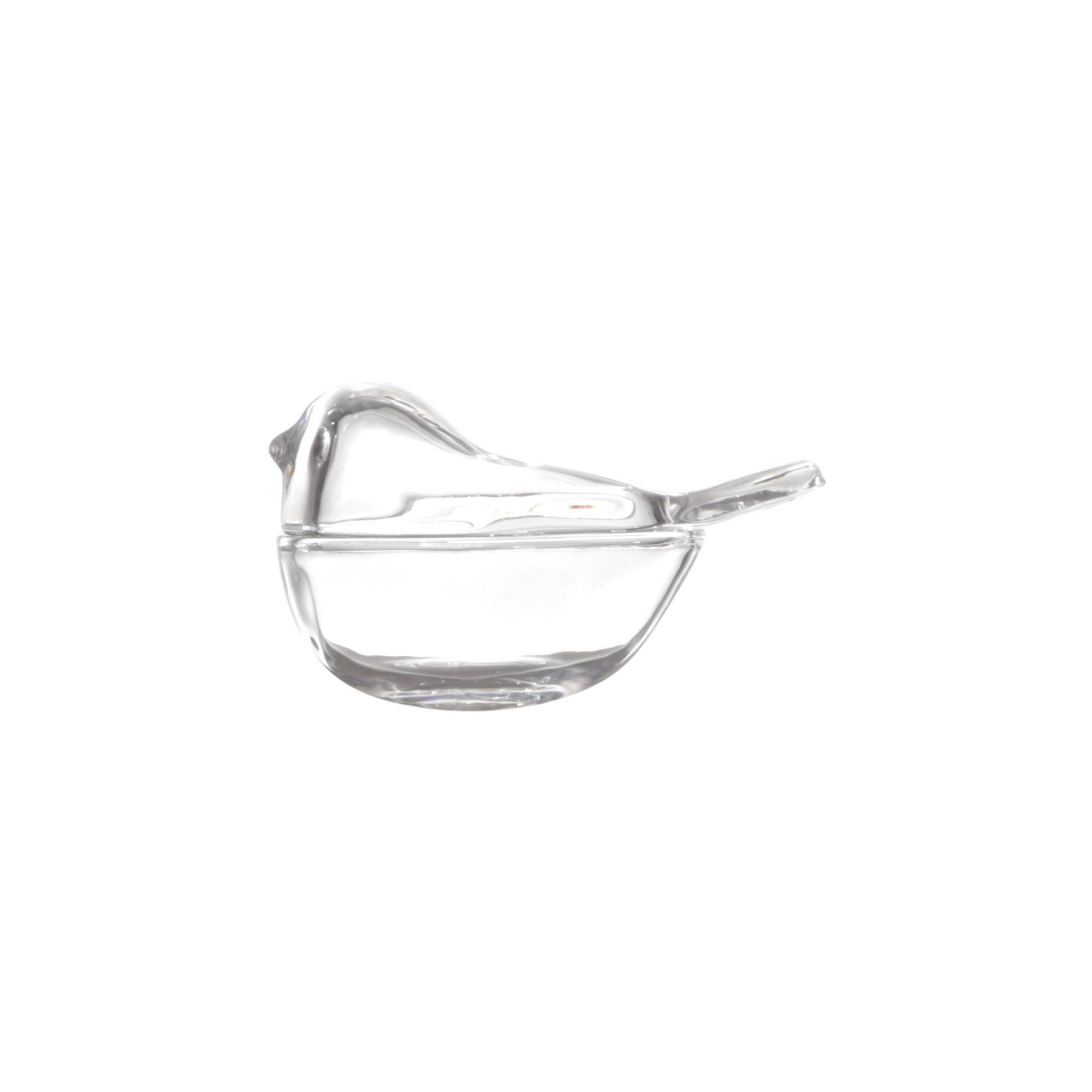 Bomboniere 7,5 cm de cristal transparente com tampa Bird Lyor - L3959