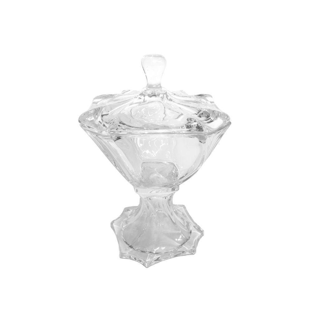 Bomboniere 26 cm de cristal transparente com tampa e pé Neptune Wolff - 26107
