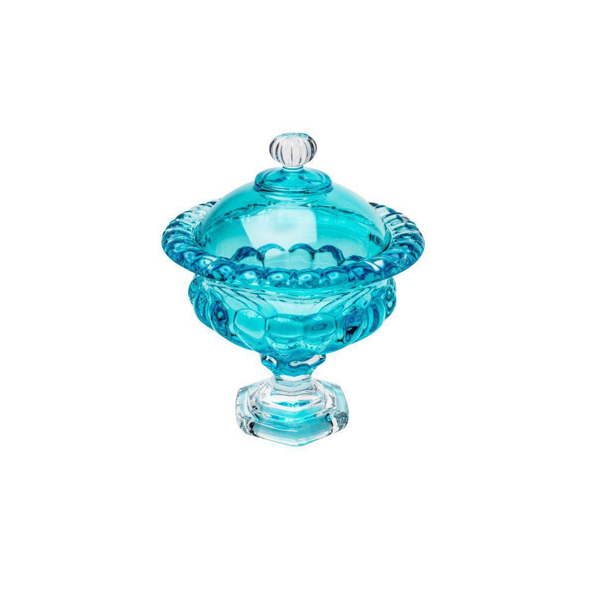 Bomboniere 23 cm de cristal turquesa com pé e tampa Sussex Wolff - 26453