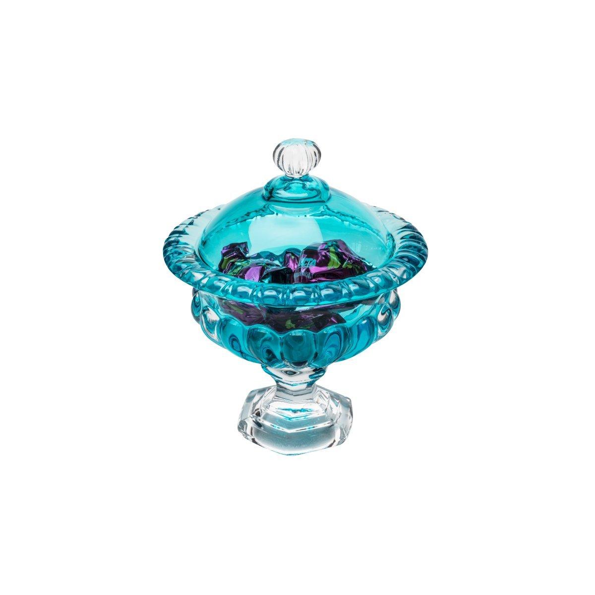 Bomboniere 16 cm de cristal turquesa com pé e tampa Sussex Wolff - 26455