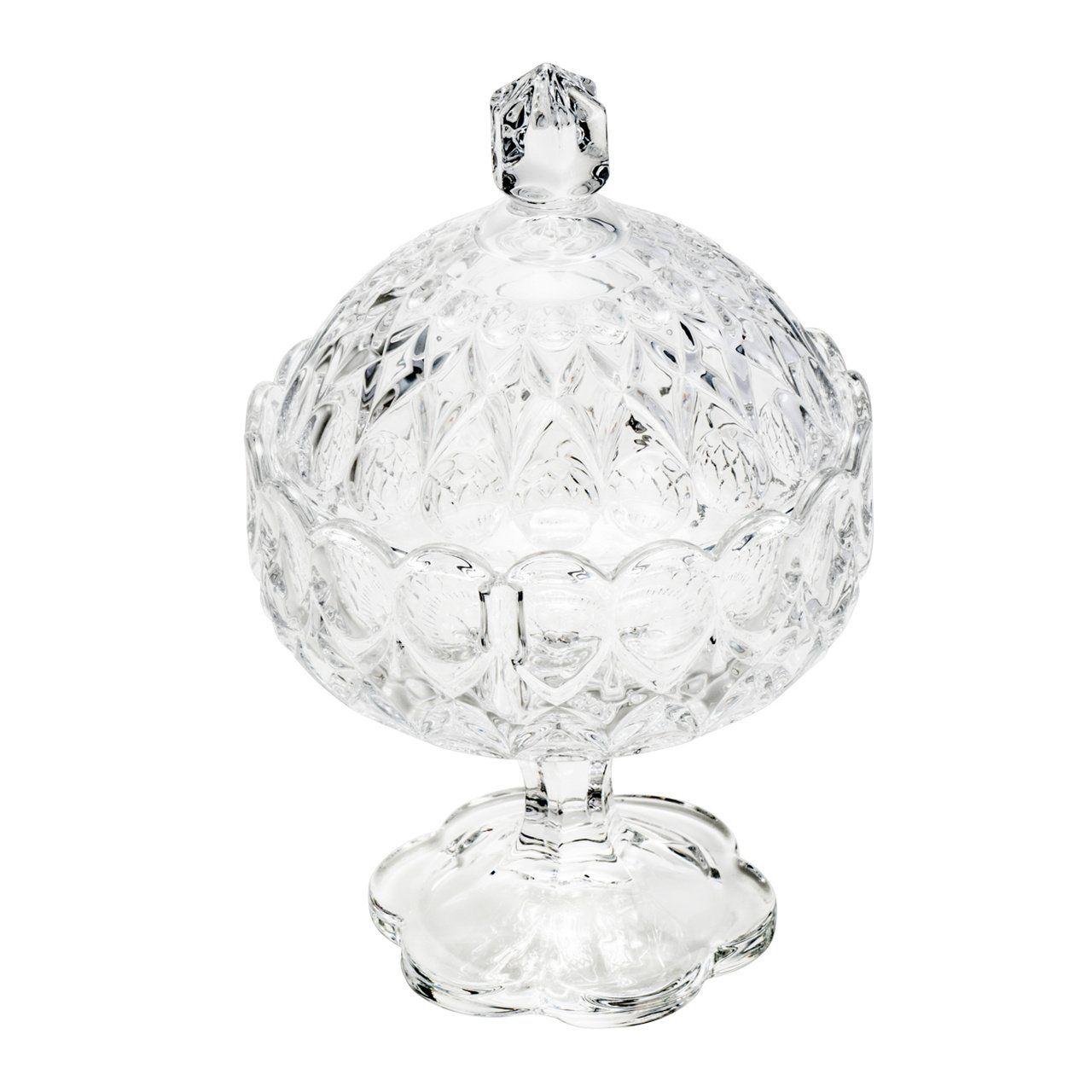 Bomboniere 23 cm de cristal transparente com tampa e pé Angélica Wolff - 25556
