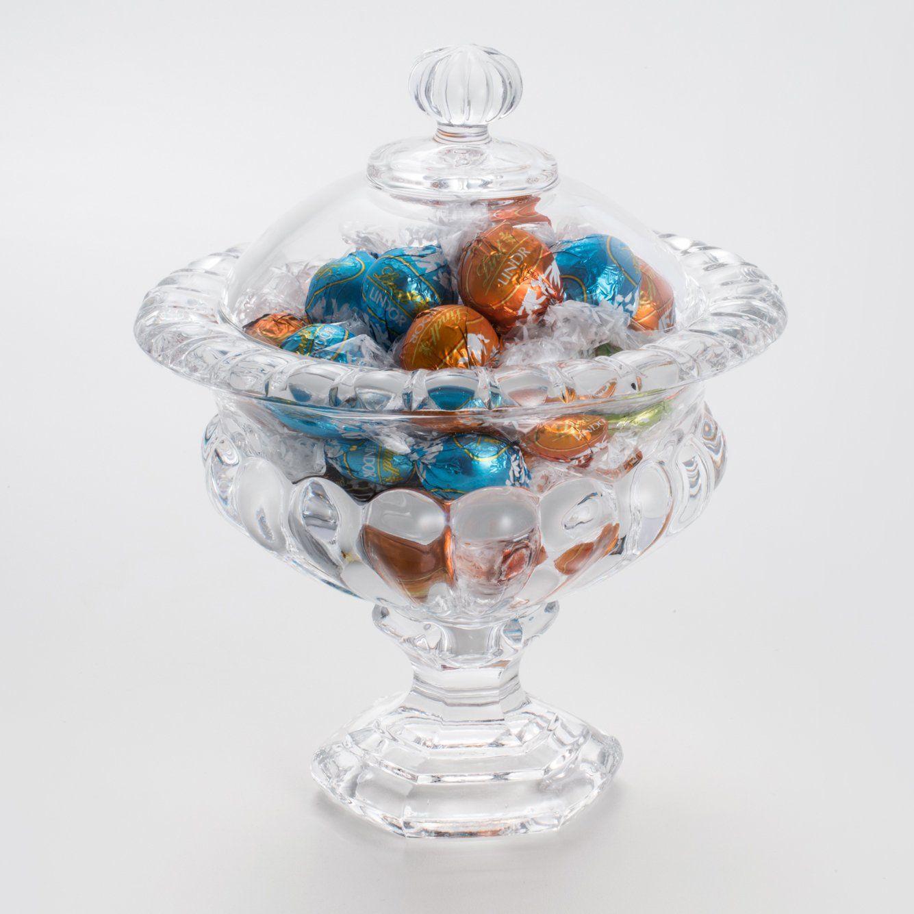 Bomboniere 23 cm de cristal transparente com tampa e pé Sussex Wolff - 2138