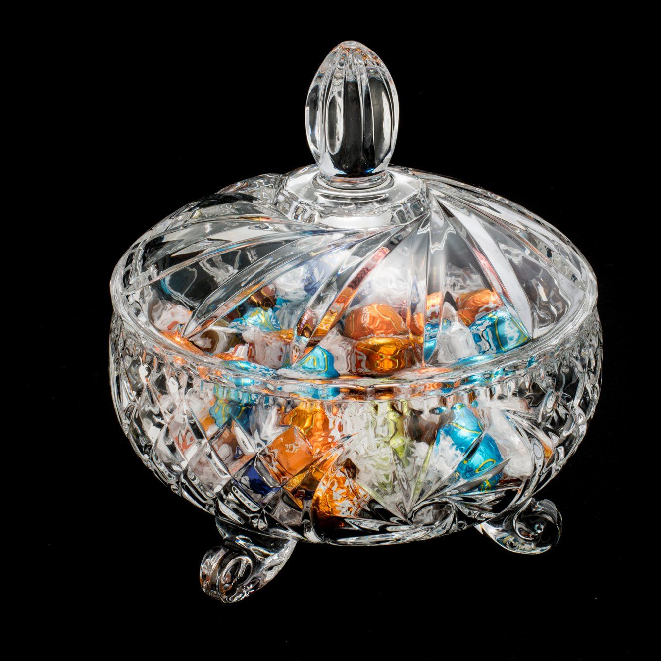 Bomboniere 18 cm de cristal transparente com tampa Sunflower Wolff - 2707