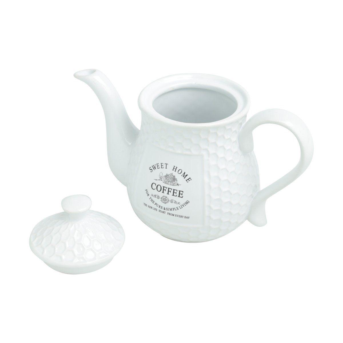 Bule 850ml para café de porcelana branca Sweet Home Bon Gourmet - 27449