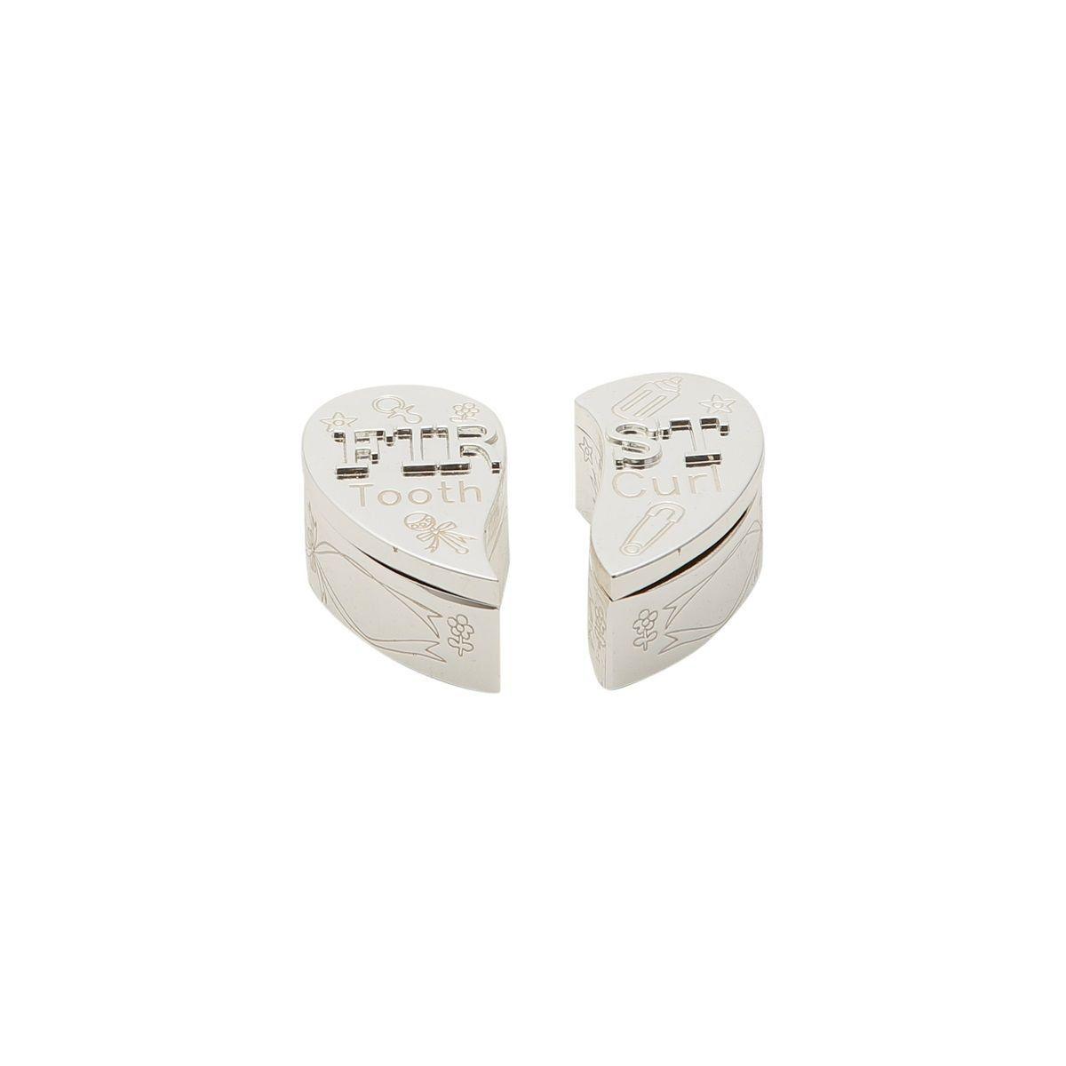 Caixa para dente e cabelo 6,5 cm de zamac prateado Coração Prestige - 2955
