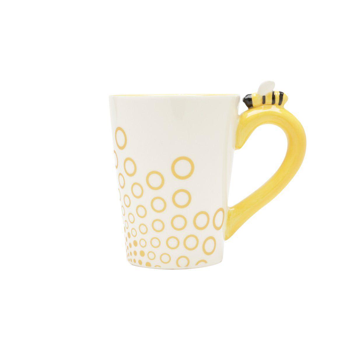 Caneca 350ml de cerâmica branca e amarela Abelha Lyor - L64023