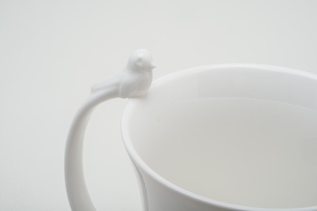 Caneca 350ml de porcelana branca Birds Wolff - 26437