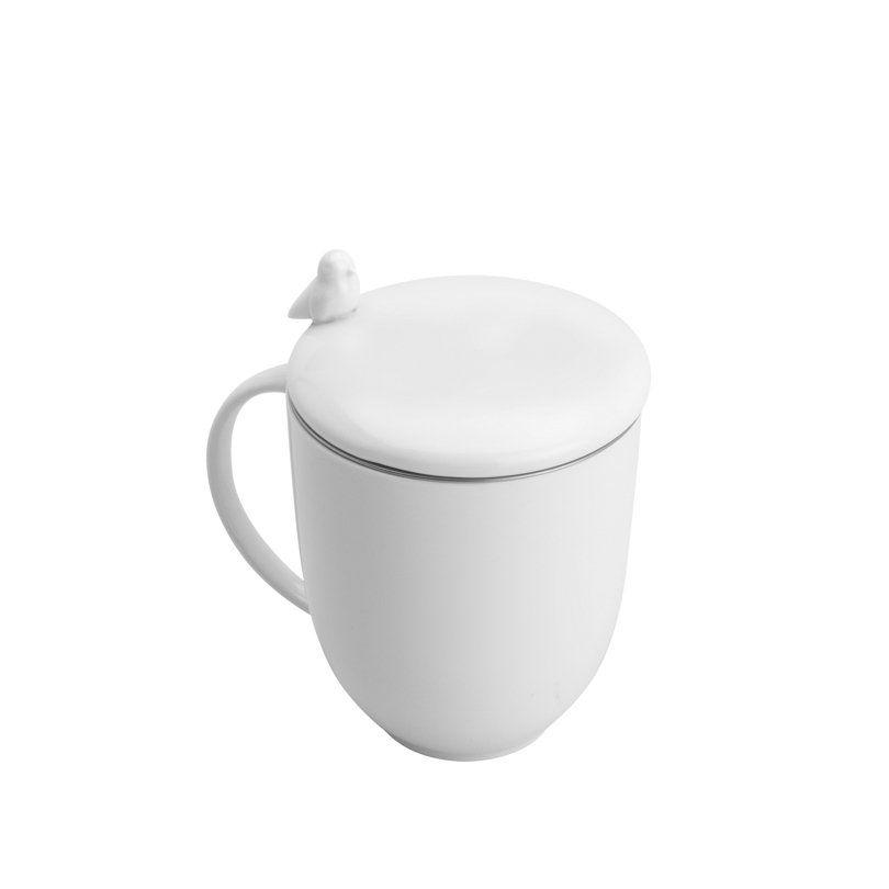 Caneca 350ml de porcelana branca com tampa e infusor Birds Wolff - 17420