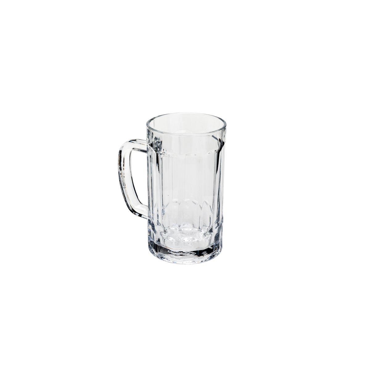 Caneca 400ml para chopp e cerveja de vidro transparente com alça Faces Lyor - L7473