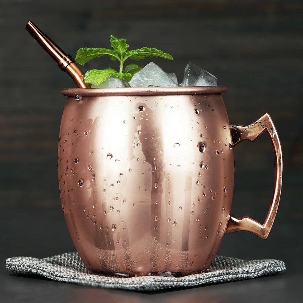 Caneca 550ml para Moscow Mule de aço inox cobre rosé gold Delhi Wolff - 27319