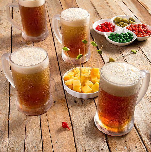 Caneca 565ml para chopp e cerveja de vidro transparente com alça Lyor - L6622