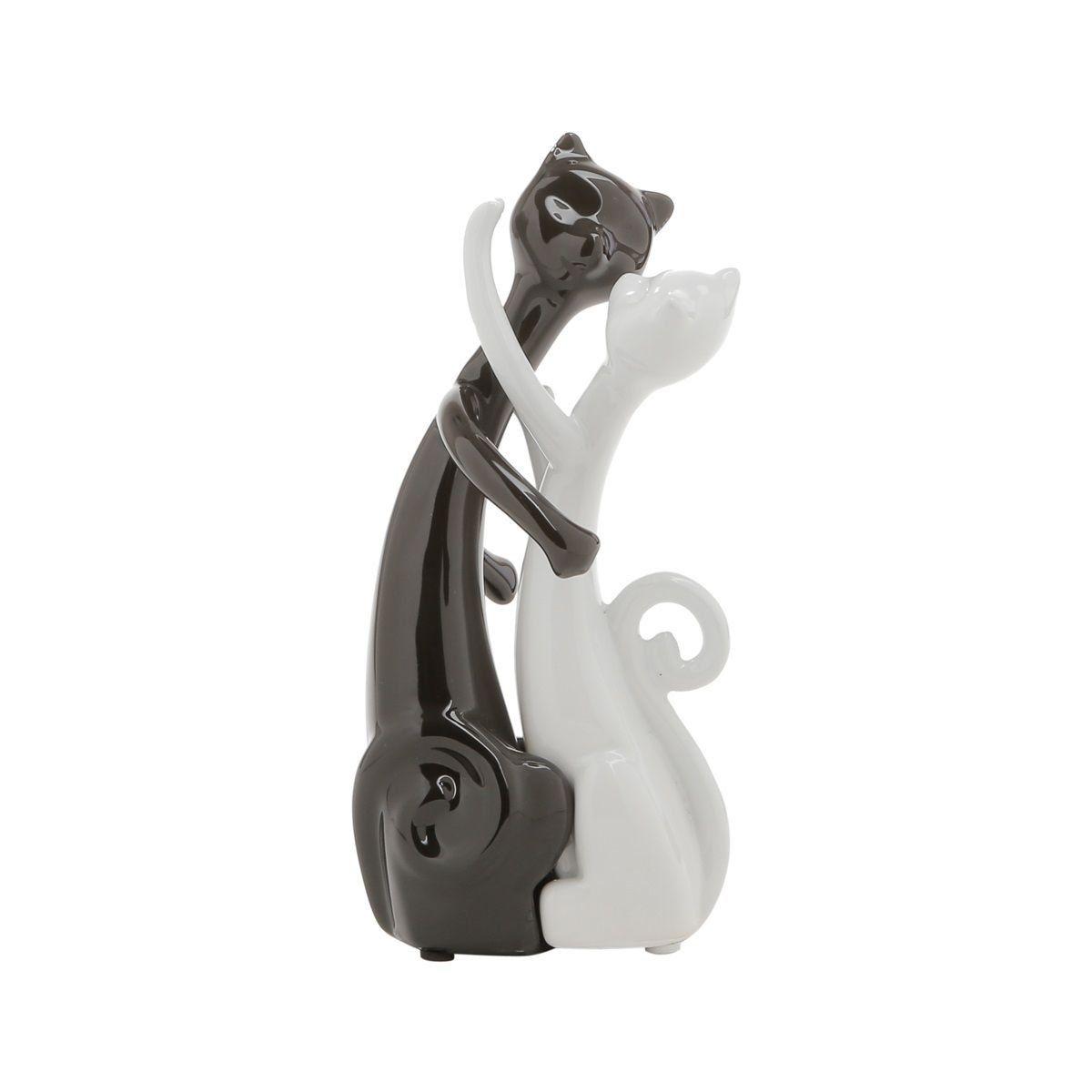 Estatueta 19,5 cm de cerâmica branco e preto Casal Gatos Namorando Prestige - 2797