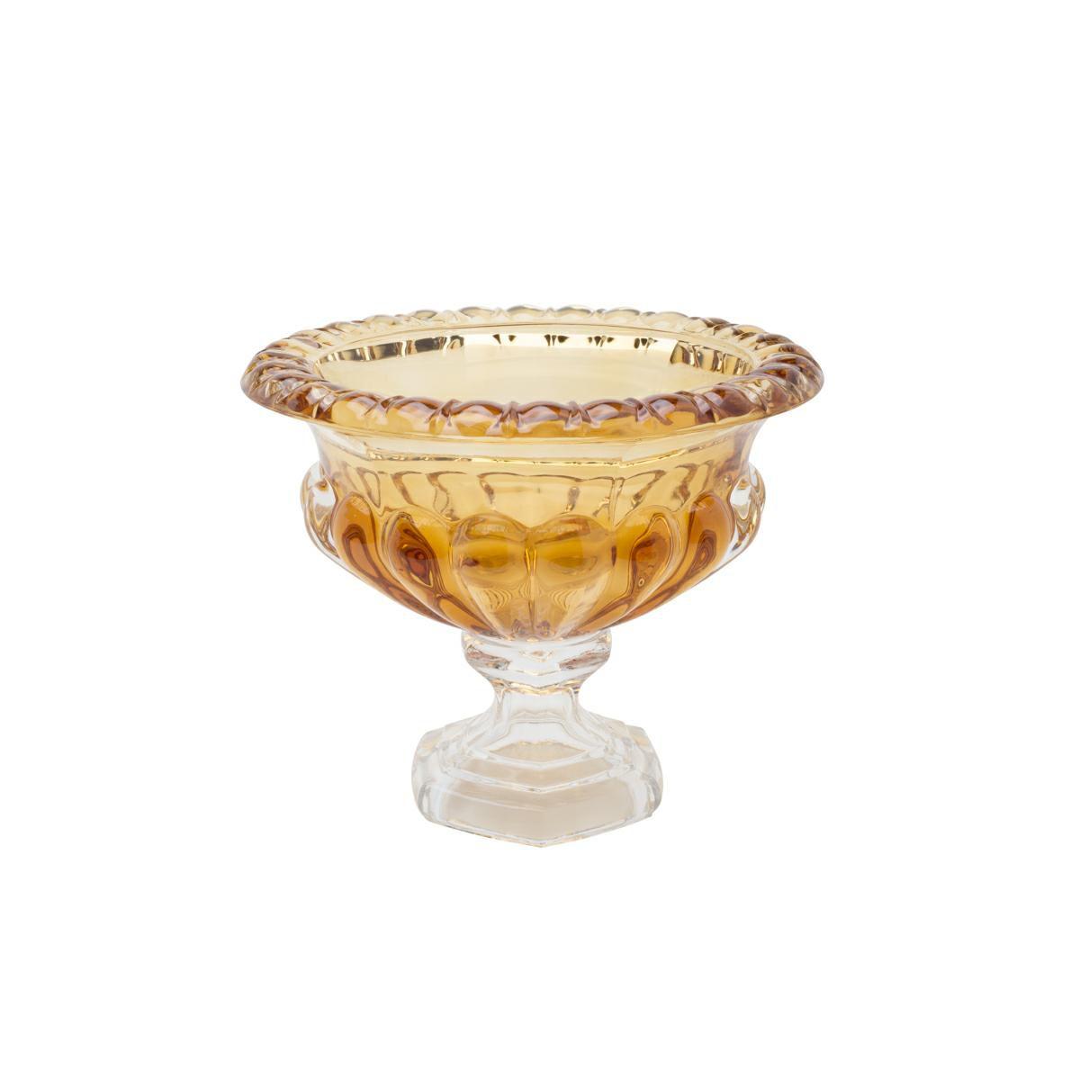 Centro de mesa 13,5 cm de cristal âmbar com pé Sussex Wolff - 26450