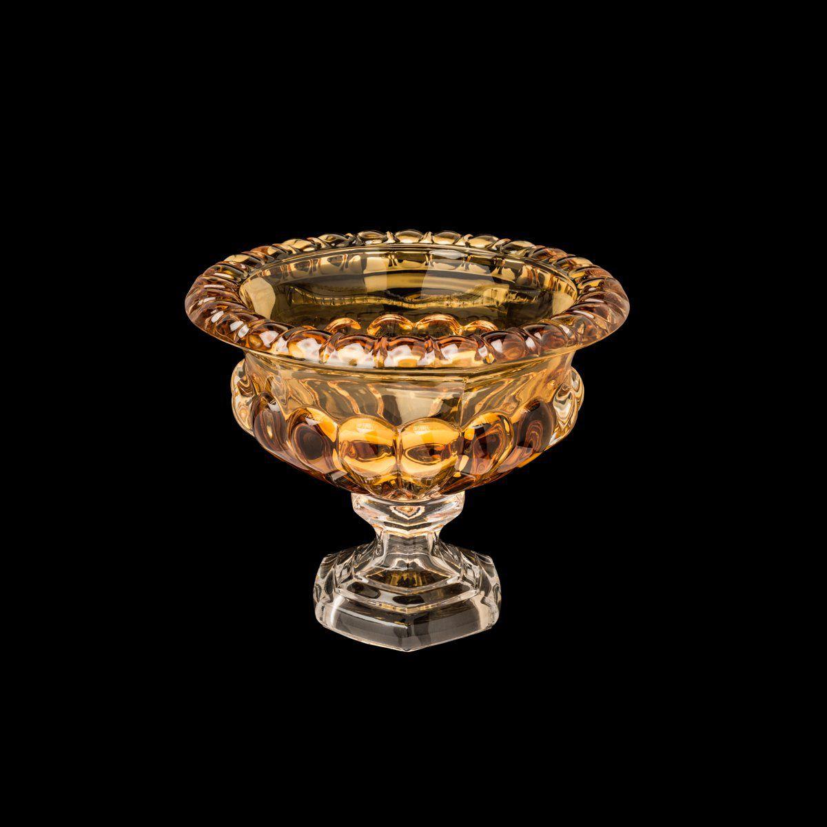 Centro de mesa 19,5 cm de cristal âmbar com pé Sussex Wolff - 26448