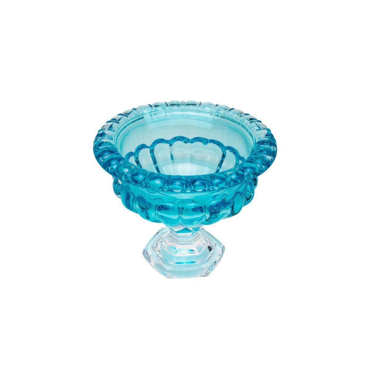 Centro de mesa 19,5 cm de cristal turquesa com pé Sussex Wolff - 26449