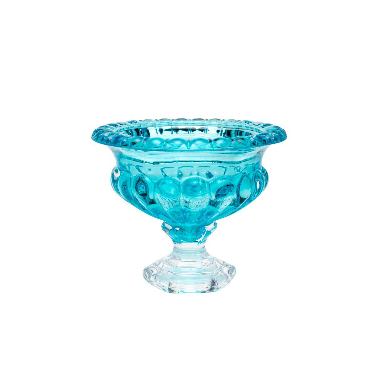 Centro de mesa 25,5 cm de cristal turquesa com pé Sussex Wolff - 26447