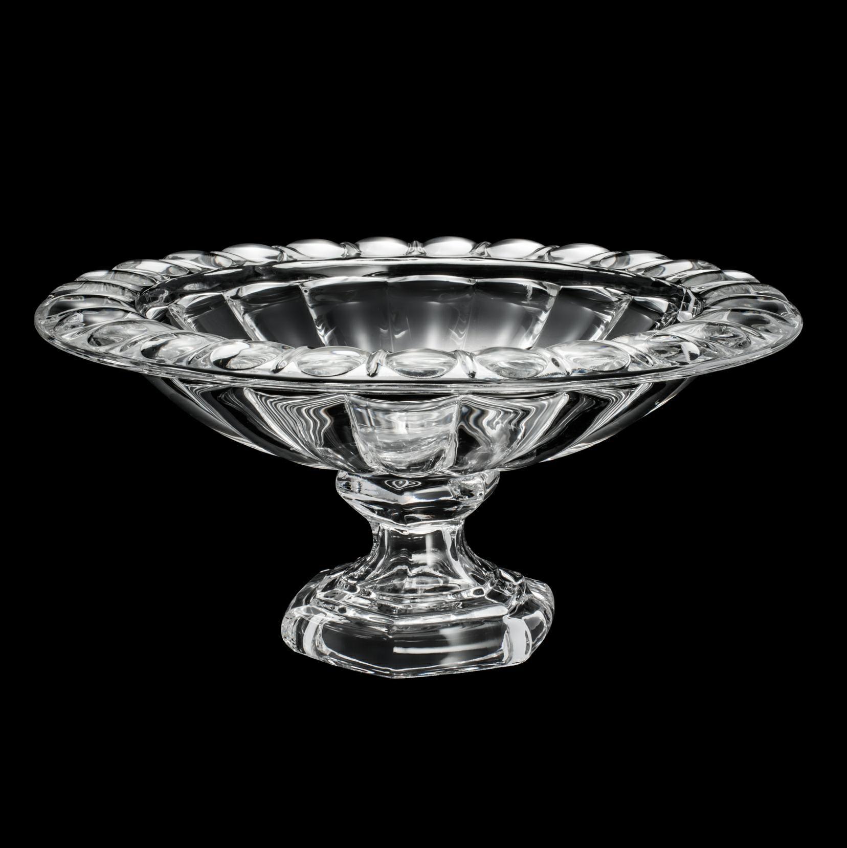 Centro de mesa 33 cm de cristal transparente com pé Sussex Wolff - 2199