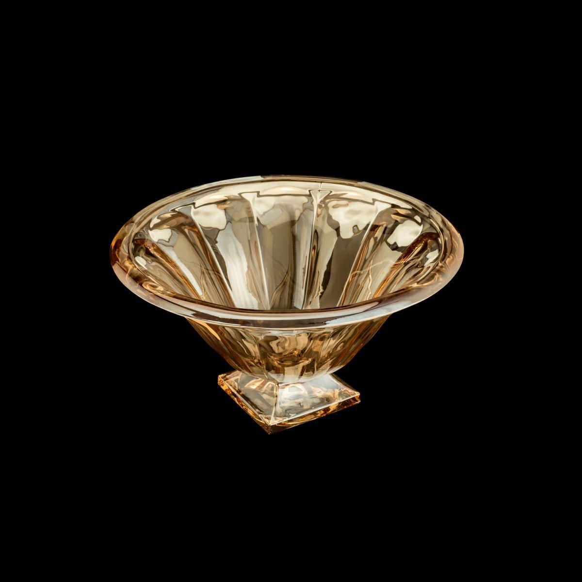 Centro de mesa 37 cm de cristal com pé Âmbar Panel Wolff - 35213