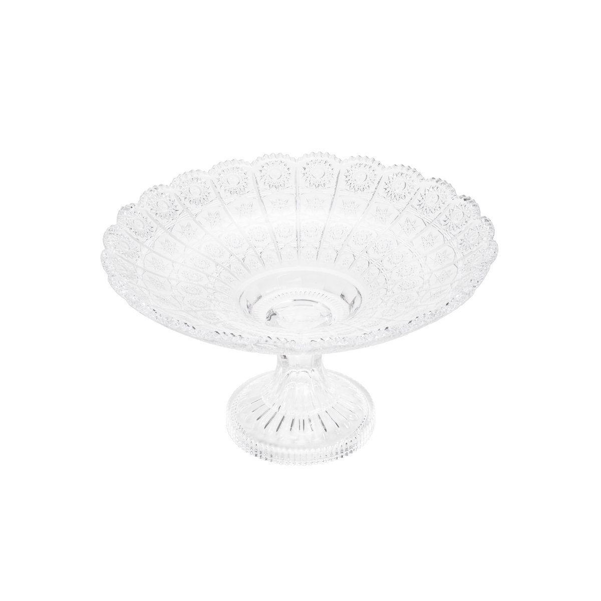 Centro de mesa 28 cm de cristal transparente com pé Starry Wolff - 30176