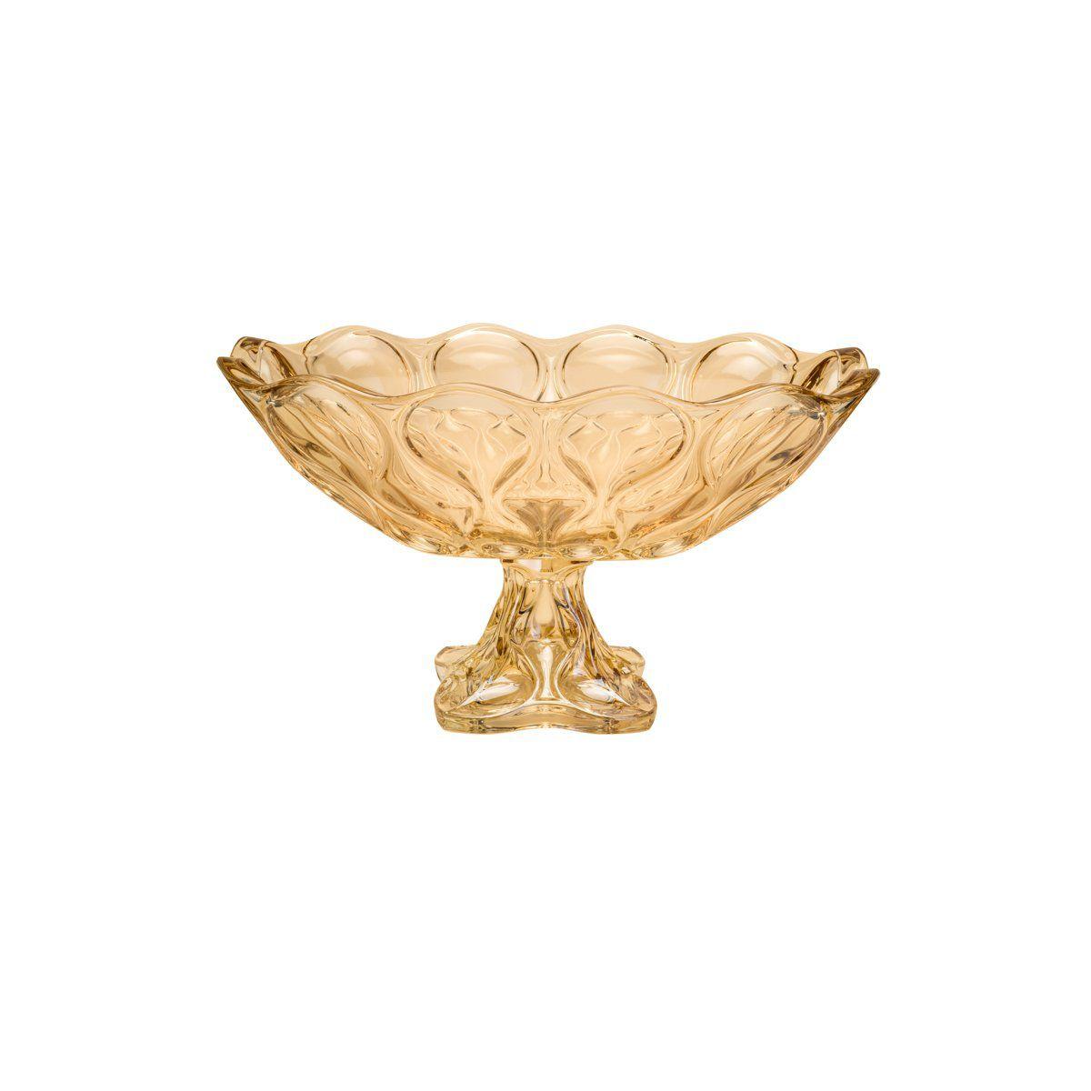 Centro de mesa, fruteira oval 23 x 17 cm de cristal âmbar com pé Safir Wolff - 26047