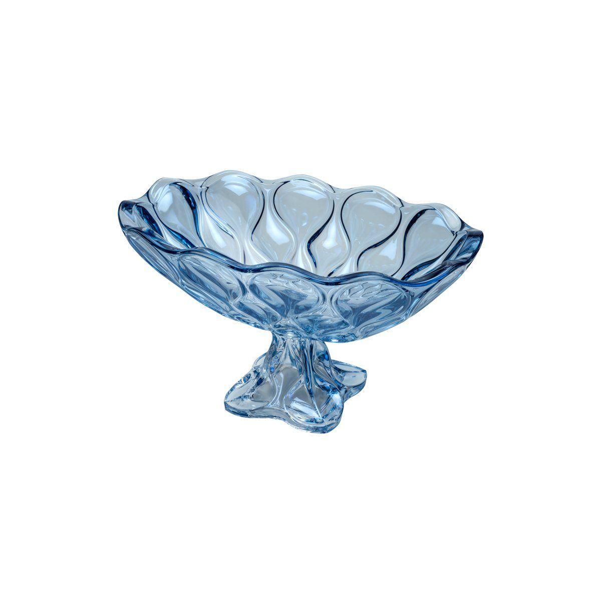 Centro de mesa, fruteira oval 37 x 22 cm de cristal azul com pé Safir Wolff - 26046