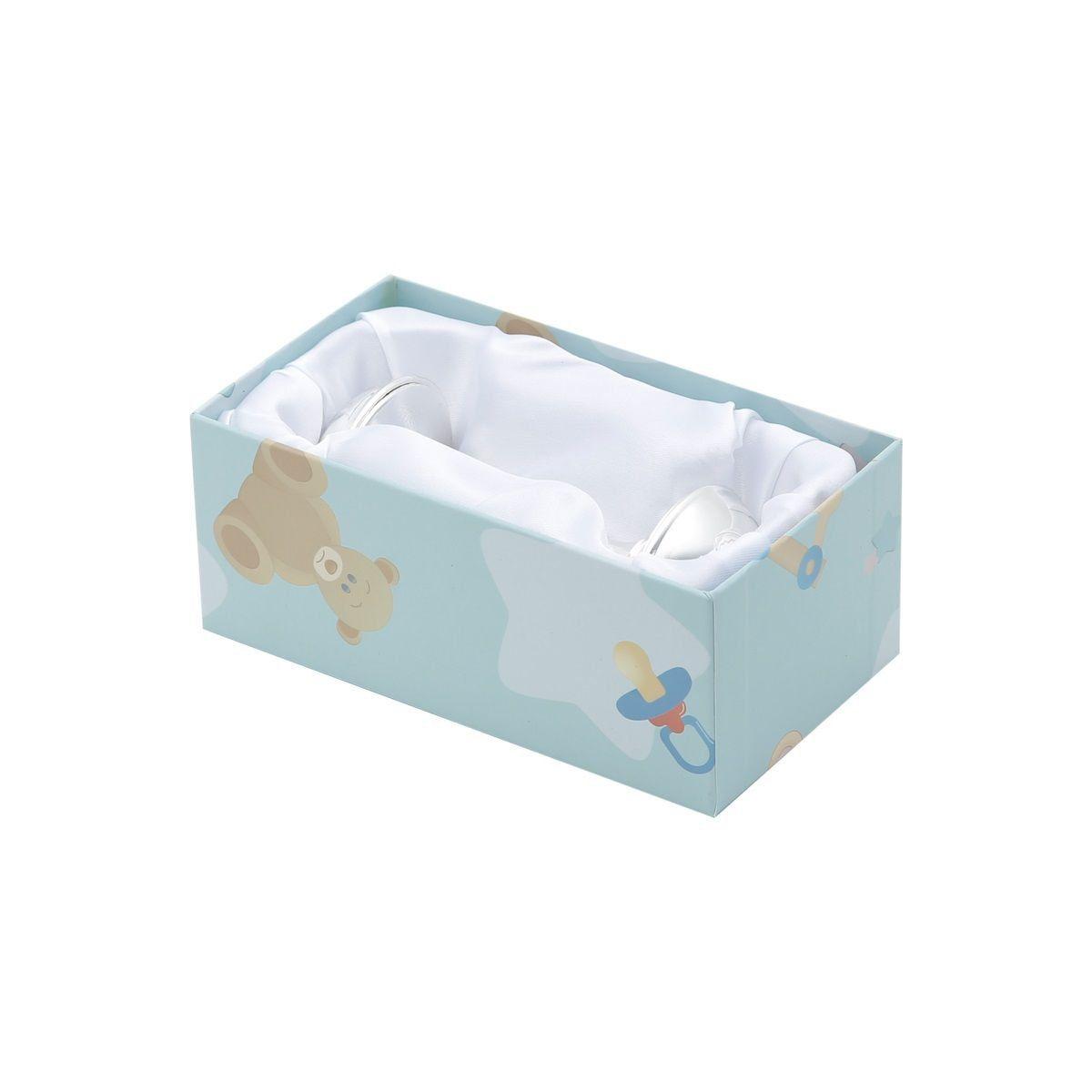 Chocalho de bebê 10,5 cm de zamac prateado Prestige - 2953