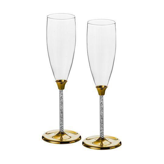Jogo 2 taças 175ml para champagne de vidro Bodas de Ouro Strass Lyor - L6388