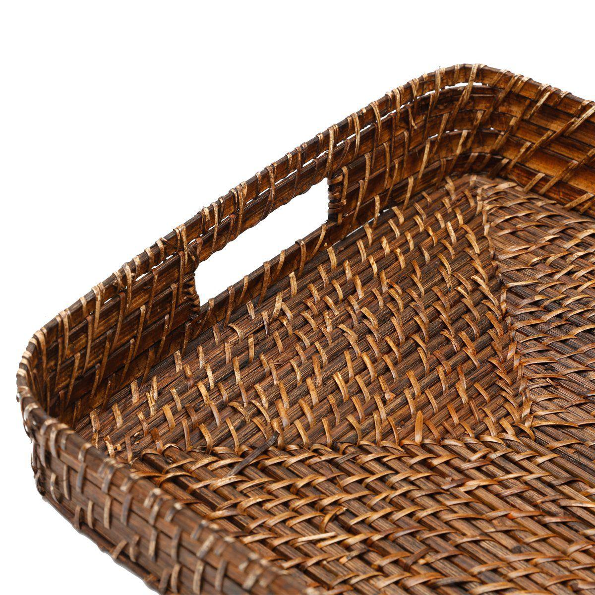 Conjunto 3 bandejas de rattan retangular Bon Gourmet - 1070