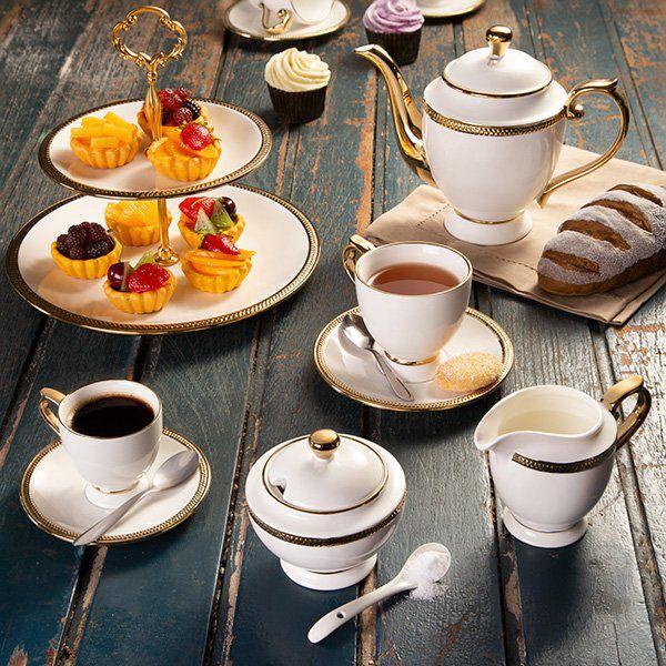 Conjunto 3 peças para chá de porcelana branca Paddy Wolff - 25114