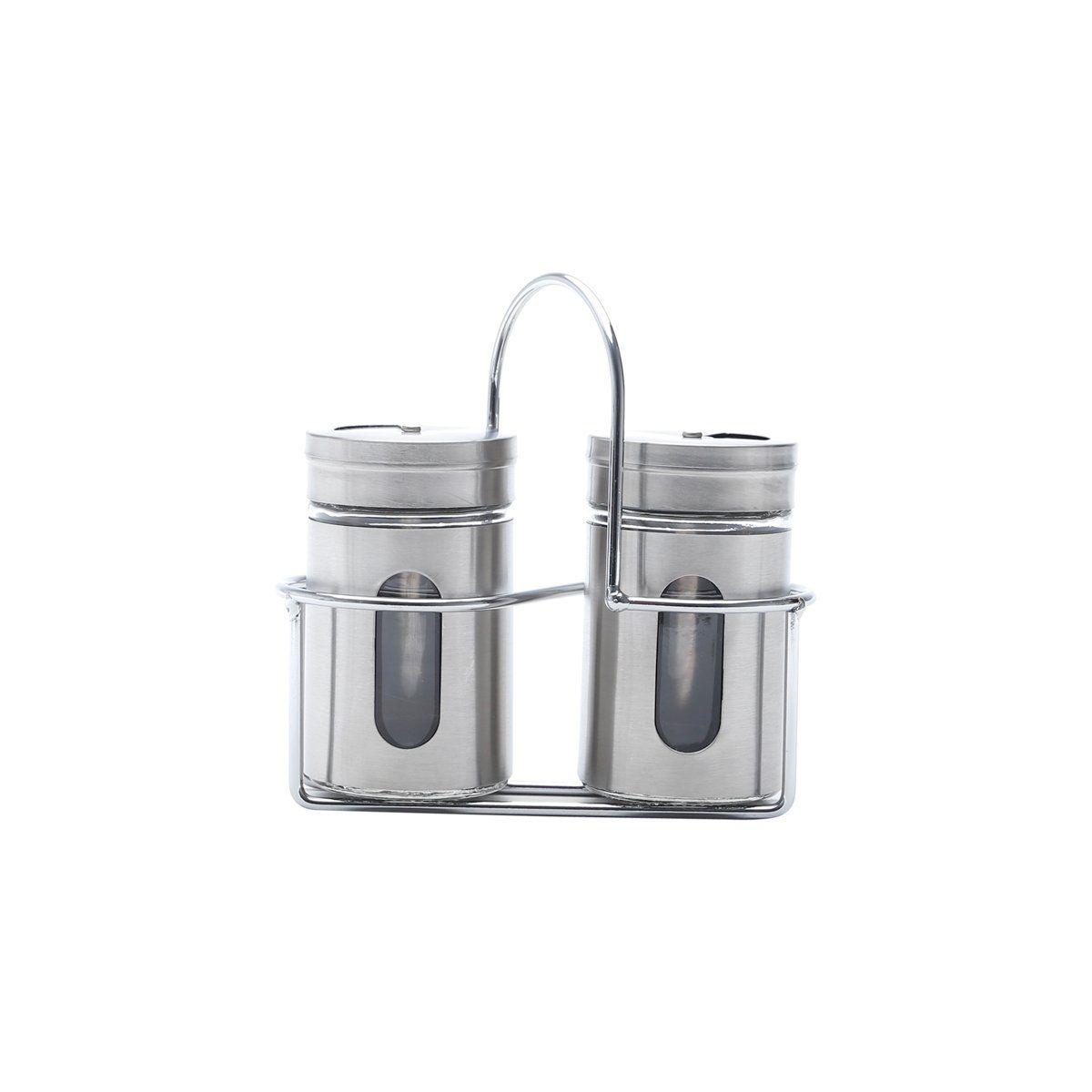 Conjunto 3 peças saleiro e pimenteiro de aço inox e vidro com suporte Pointer Bon Gourmet - 25794