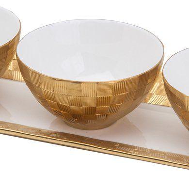 Conjunto 4 peças bandeja e petisqueiras de porcelana branca e dourada Vera Wolff - 17446
