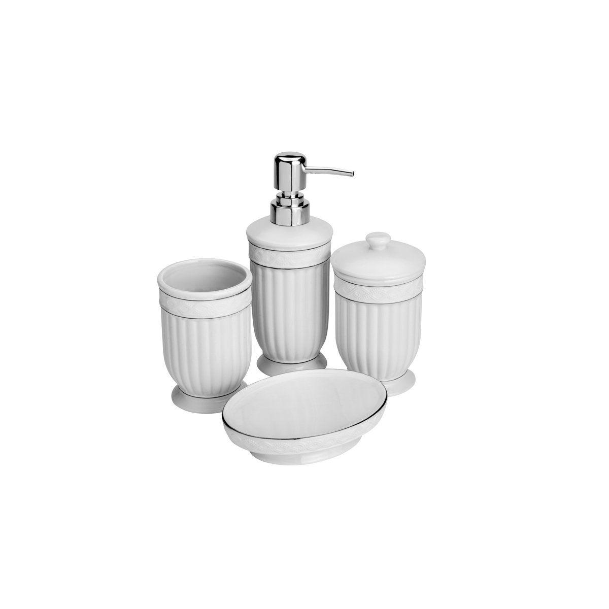 Conjunto 4 peças para banheiro de cerâmica branco e prata Greece Lyor - L4117
