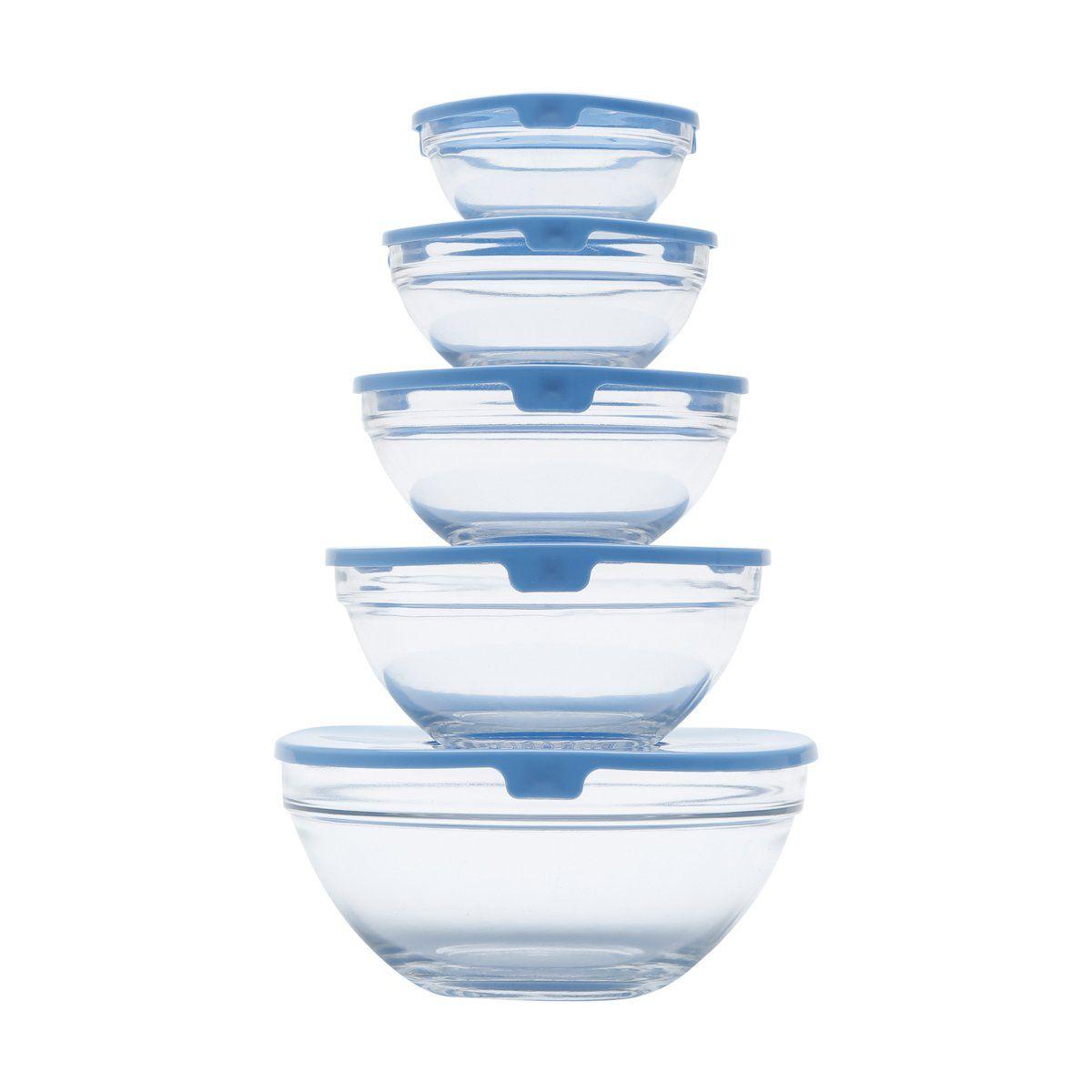 Conjunto 5 potes de vidro transparente e tampa de plástico Azul Bon Gourmet - 25622(1)