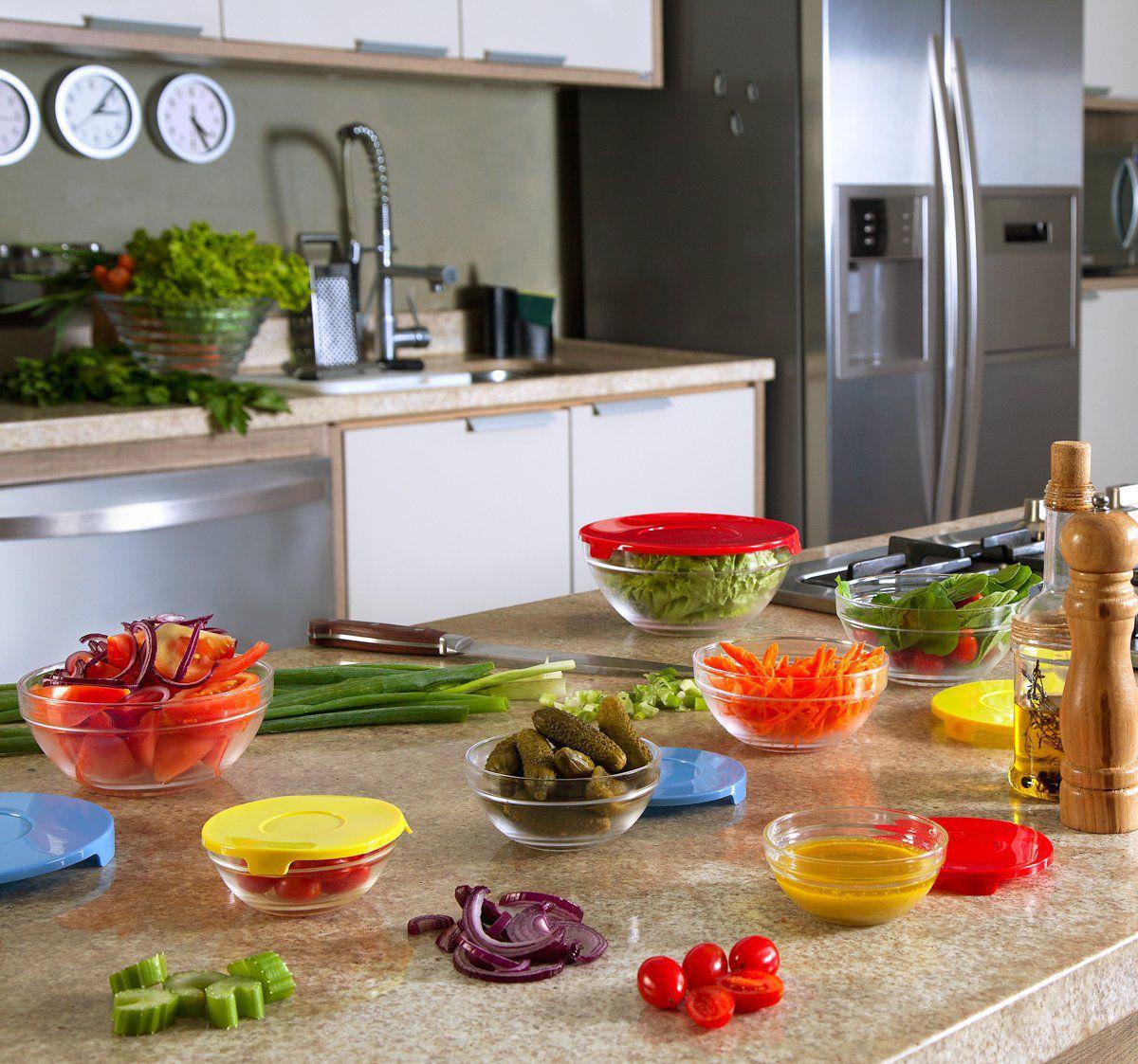 Conjunto 5 potes de vidro transparente e tampa de plástico Vermelho Bon Gourmet - 25622(2)