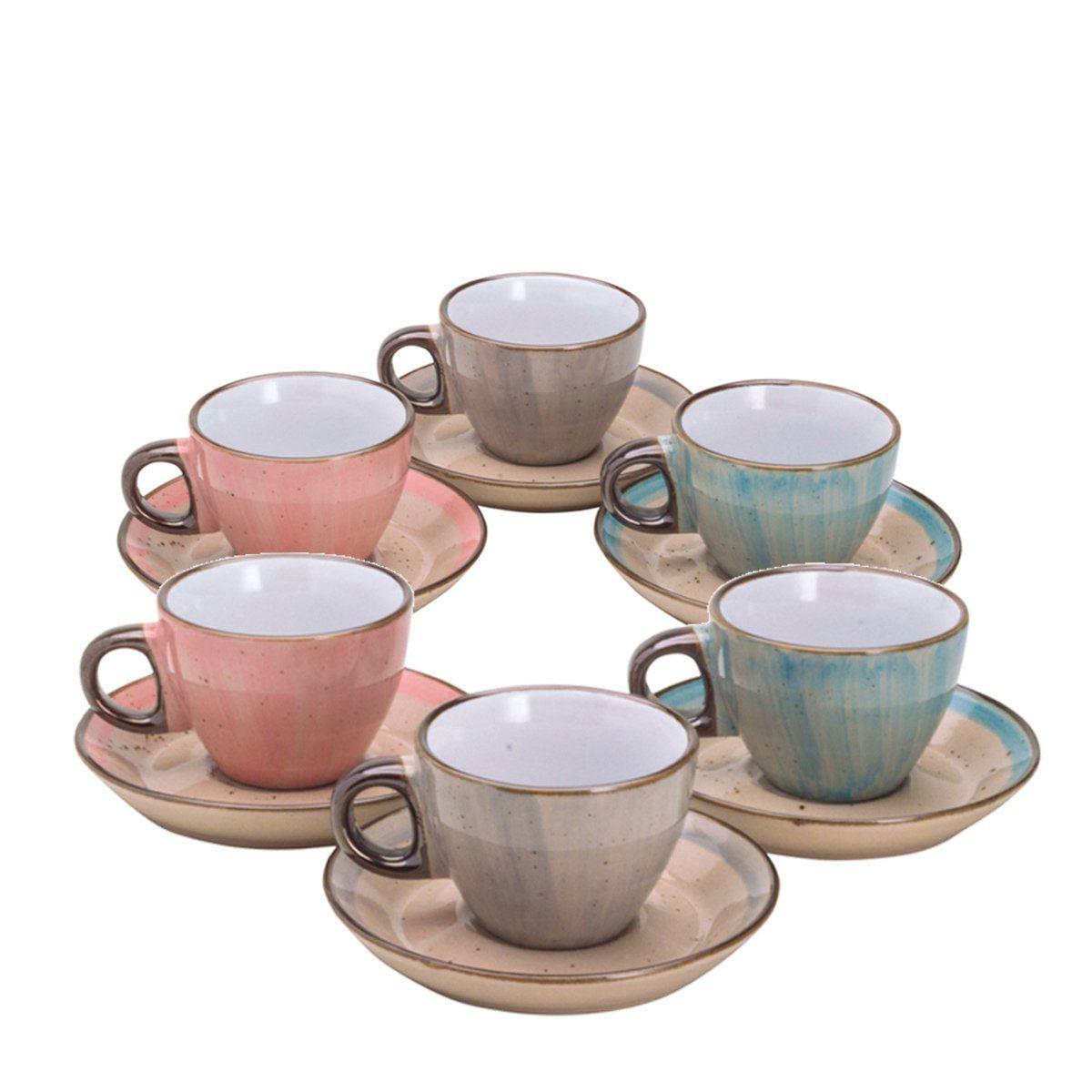 Jogo 6 xícaras 80 ml para café de porcelana colorida com pires Watercolor Bon Gourmet - 26490