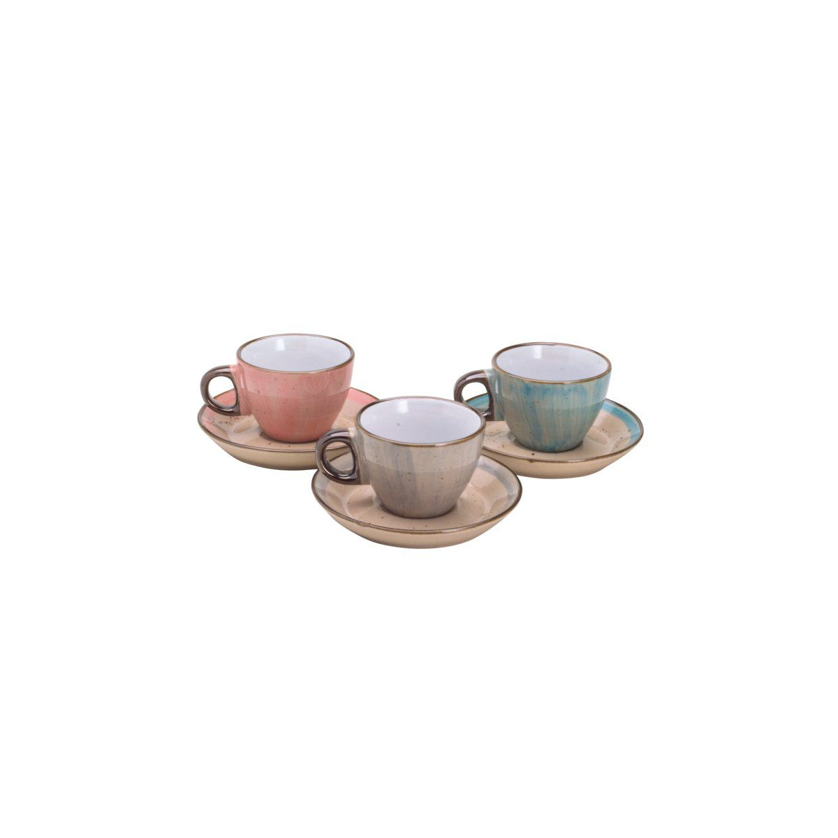 Jogo 6 xícaras 80 ml para café de porcelana colorida com pires Watercolor Bon Gourmet - 26490