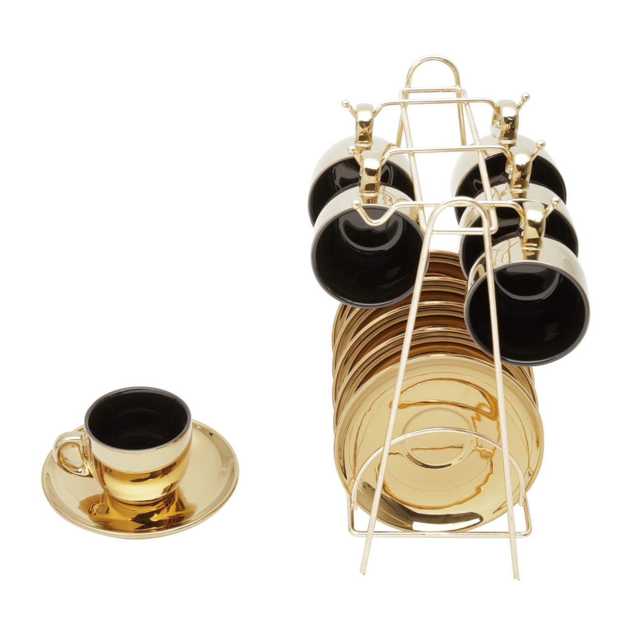 Conjunto 6 xícaras 90 ml para café de porcelana preto/dourado com pires e suporte Versa  Wolff - 35526