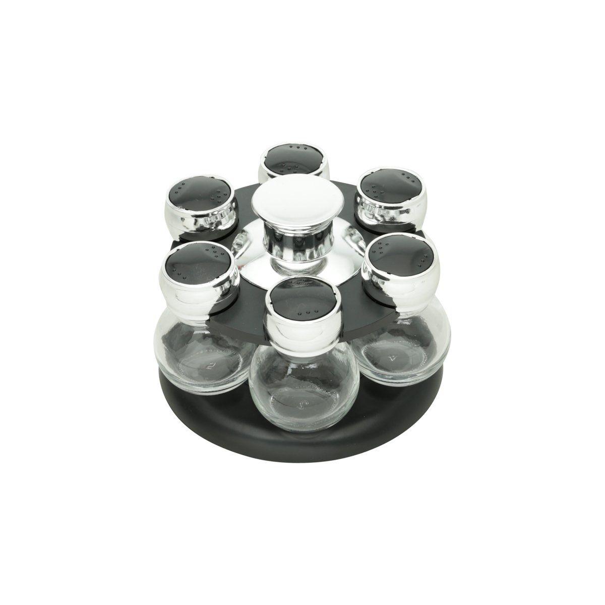 Conjunto 7 peças porta temperos de vidro com tampa de plástico e base giratória preta Poli Bon Gourmet - 26887