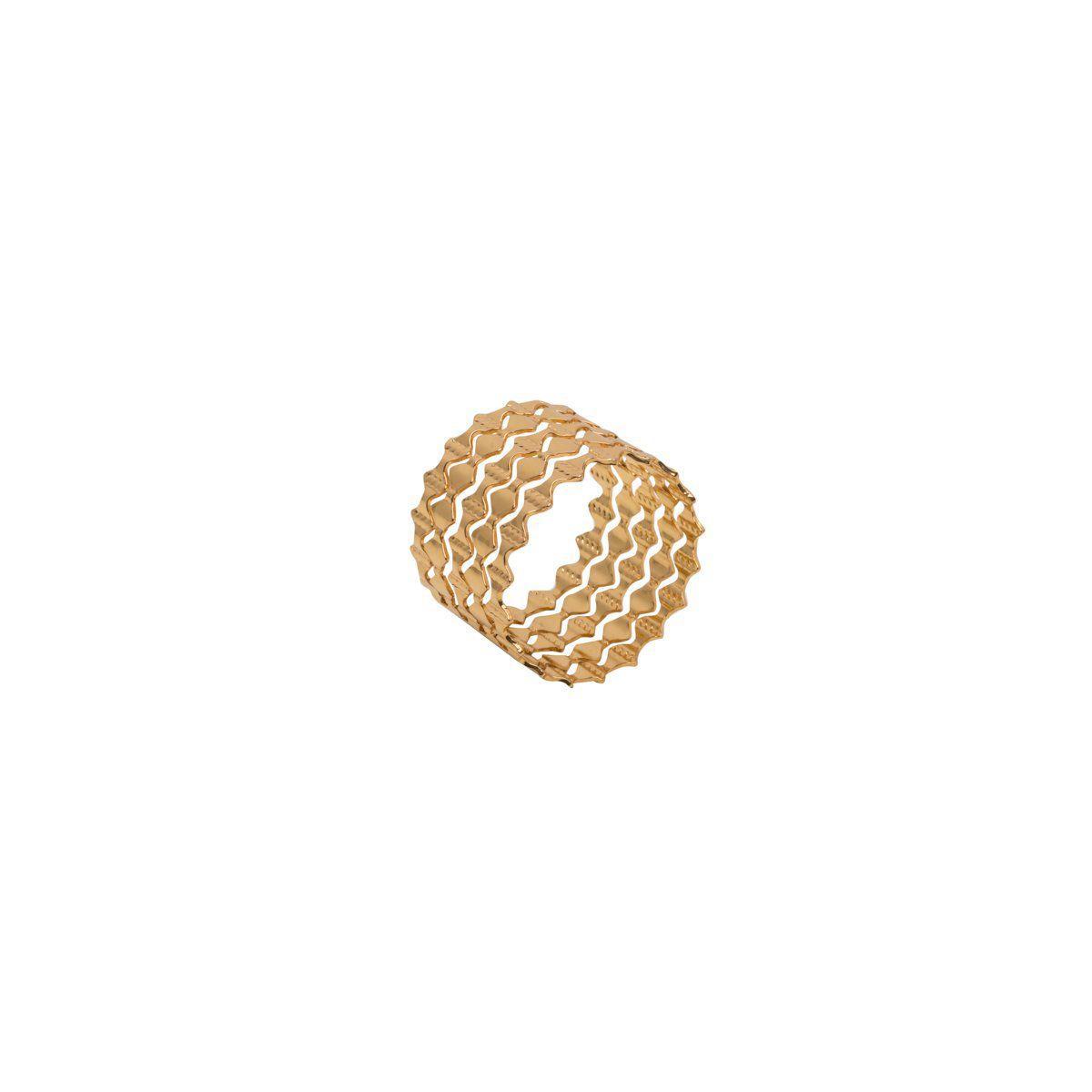 Jogo 4 anéis para guardanapo em zamac dourado Gates Prestige - 26512