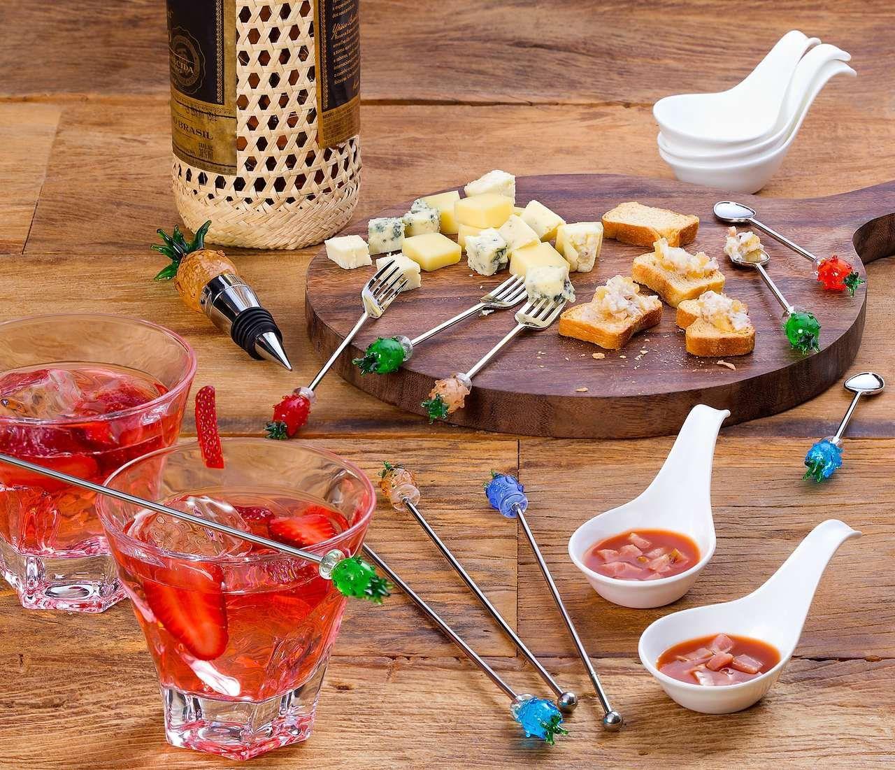 Jogo 4 peças garfo de sobremesa e bolo em zamac e acrílico Abacaxi Bon Gourmet - 25702
