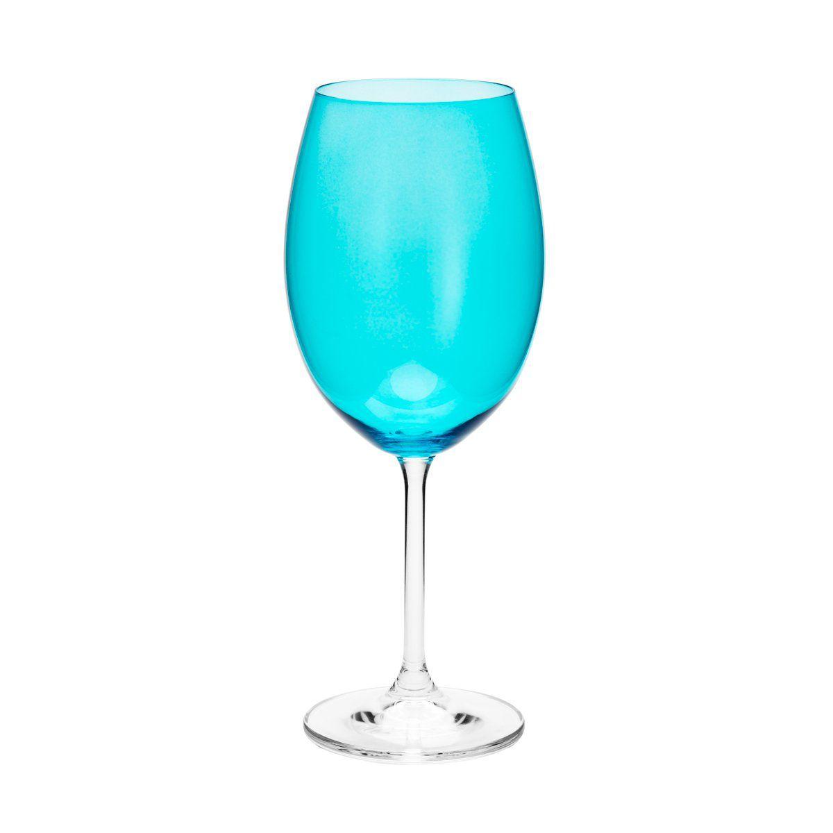 Jogo 6 taças 580ml para água de cristal ecológico turquesa Gastro/Colibri Bohemia - 35046