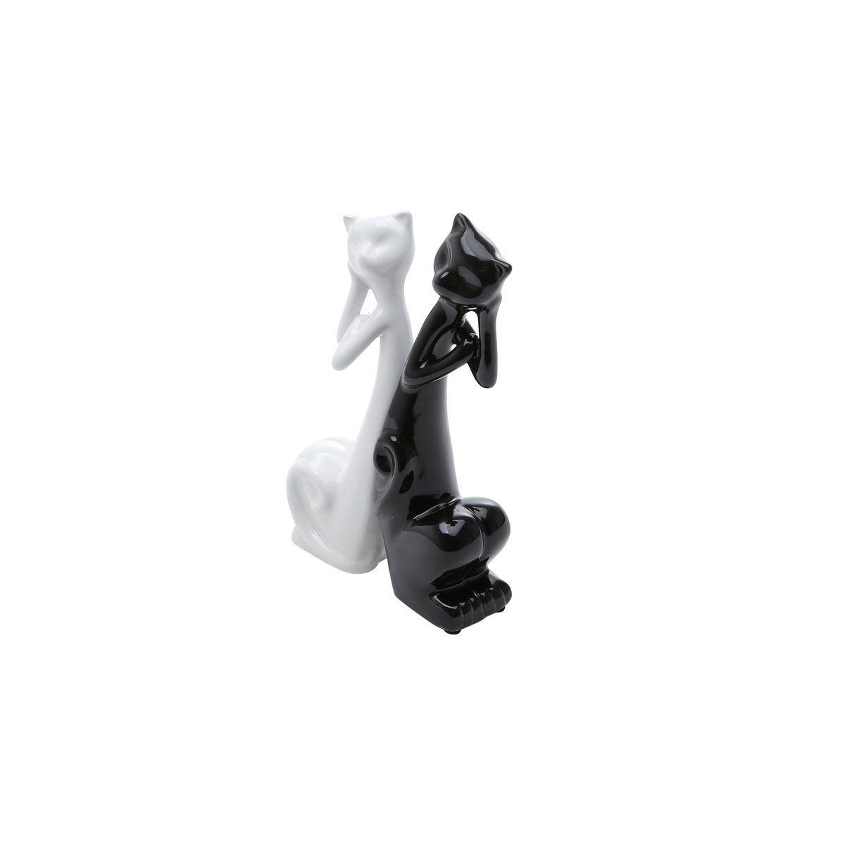 Estatueta 19,5 cm de cerâmica branco e preto Casal Gatos Pensativos Prestige - 2798