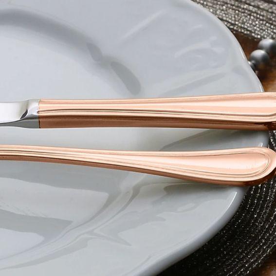 Faqueiro 30 peças de aço inox PVD Rosé Gold com Gift Box Avalon Wolff - 71417
