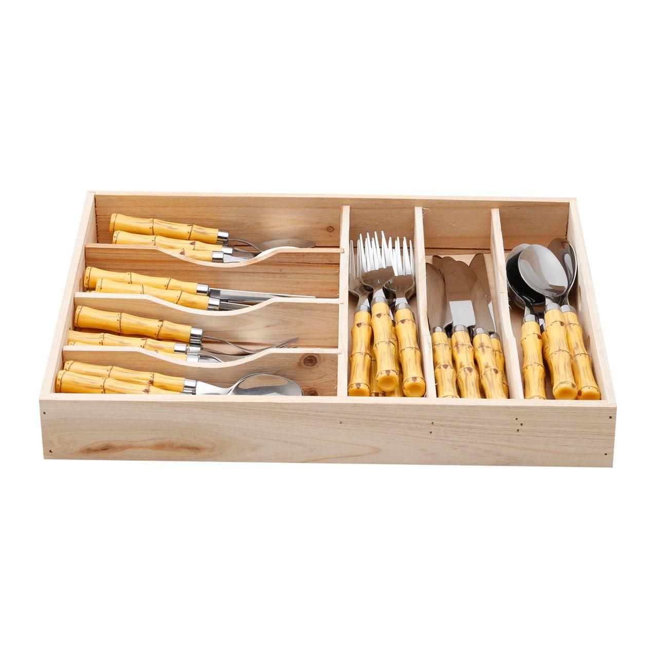 Faqueiro 42 peças de aço inox com cabo de plástico Bamboo Bon Gourmet - 3794