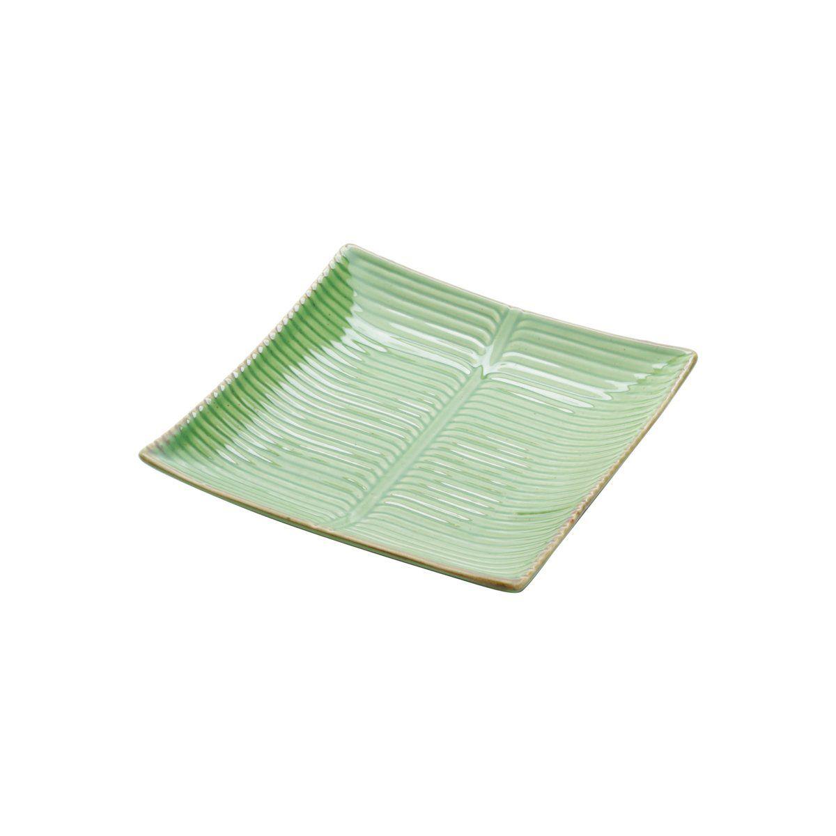 Prato decorativo 16,5 x 16,5 cm de cerâmica verde Banana Leaf Lyor - L4130