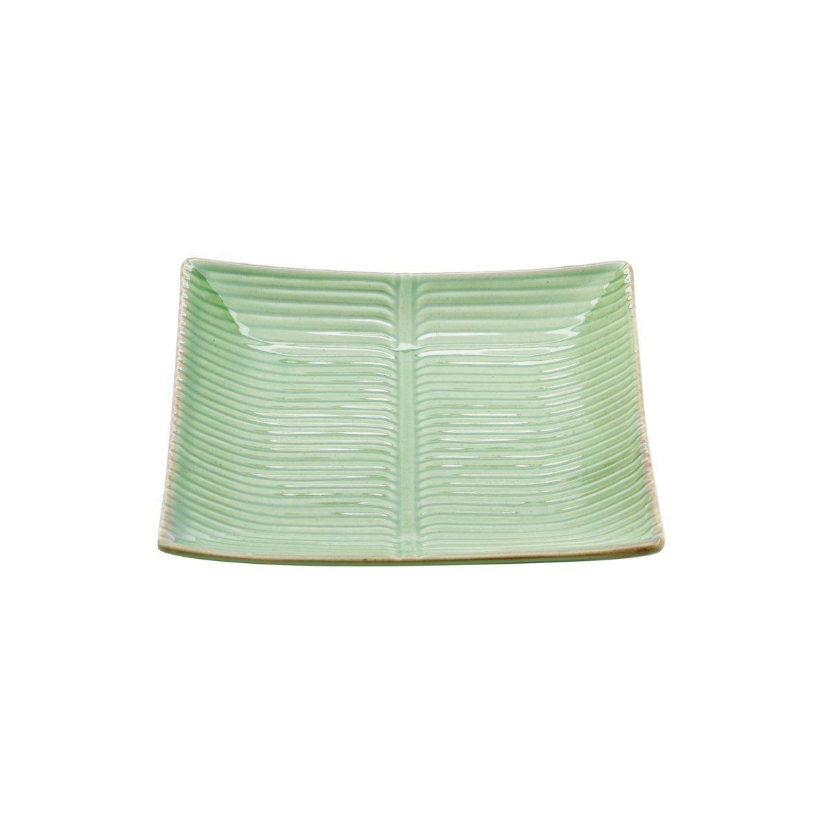 Folha decorativa 21,5 x 21,5 cm de cerâmica verde Banana Leaf Lyor - L4129