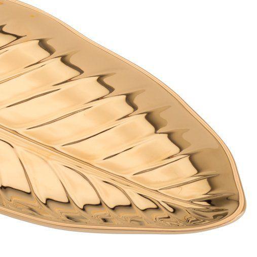 Folha decorativa 28,5 x 15 cm de porcelana dourada Anthurium Prestige - 26820